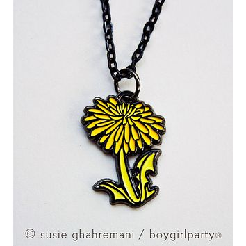 SALE: Dandelion Necklace - Botanical Necklace - Dandelion Jewelry by boygirlparty