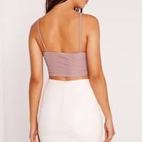 Missguided - Ribbed Cami Crop Top Mauve