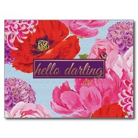 Girly Hello Darling Floral Post Card