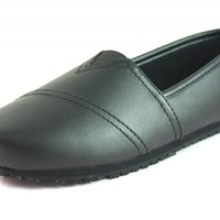 Townforst Women's Slip and Oil Resistant Non Slip Work Shoes Jess PU Leather Slip-On Black Flat 8.5