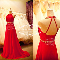Beading prom dress,Red prom dress, Long prom dress,backless prom dress,evening dress,party dress,bridesmaid dress, formal dress.