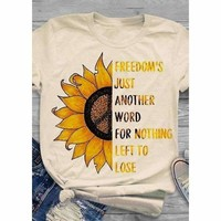 Freedom Sunflower Peace Sign Hippie Top