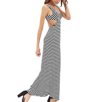 FOREVER 21 Cutout Striped Maxi Dress Black/White