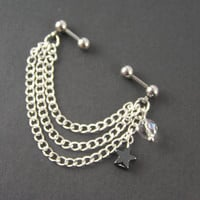 """Industrial Piercing Chains, Hematite Star, AB Crystal, 16G 1/4"""" Bars Industrial Barbells Jewelry Earring Tribal Boho Dangle Chains"""