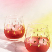 Metallic Cactus Stemless Wine Glass Set   Urban Outfitters