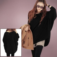 Casual Women Slouchy Knitted Scoop Neck Batwing Sleeve Stretchy Loose Pullover Sweater Black (Color: Black) = 1946613252