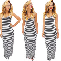 Striped Sleeveless Bodycon Maxi Dress