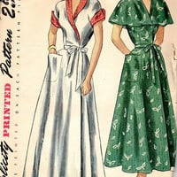 Simplicity 2845 Vintage Retro 40s Sewing Pattern Wrap House Dress Lounge Coat Shawl Collar Winged Cuffs Flared Skirt Glamour Fashion Bust 32