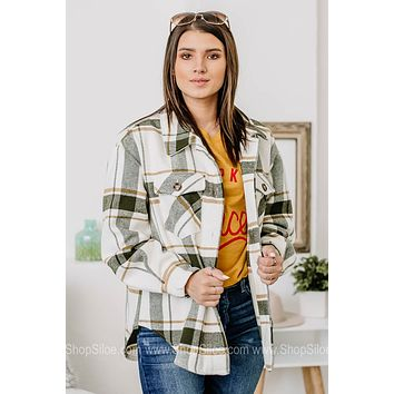 Just Roll With It Flannel Jacket   Green