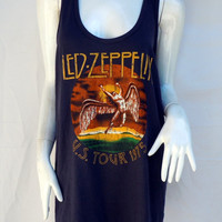 Led Zeppelin Blackish Brown Sleeveless T Shirt Tank Top Vest Women One size fits S to L UK 16