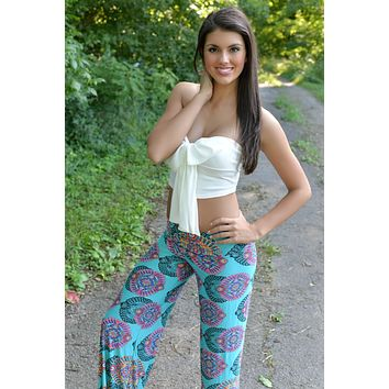Dream On Turquoise Yoga Pants
