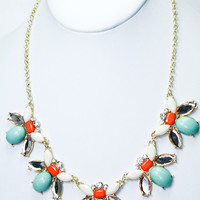 Bee's Knees Necklace - Mint + Coral