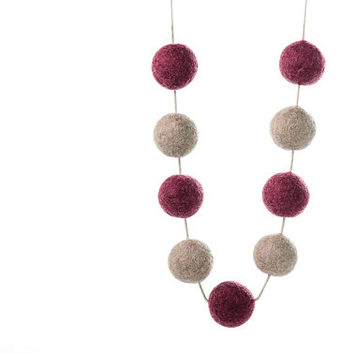 Statement Necklace Long Felted Necklace Autumn Felt Bead Jewelry Pastel Colors Eco Friendly
