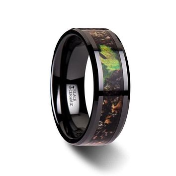 RAMBO Men's Realistic Tree Camo Black Ceramic Ring With Green Leaves - 8mm