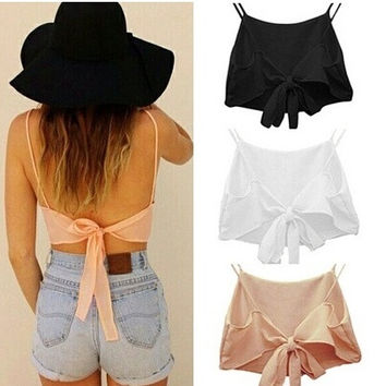 Sexy Women Sleeveless Backless Camisole Shirt Summer Casual Blouse Crop Tops = 1956667652