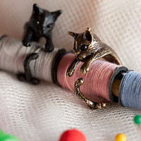 QIAMNI Handmade Cute Animal Cat Ring for Women Girls Men Christmas Kitty Tail Fashion Party Jewelry Pet Lover Gift Accessories