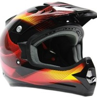 Adult Off Road Helmet DOT Dirt Bike Motocross ATV Motorcycle Offroad Black Red ( Small )