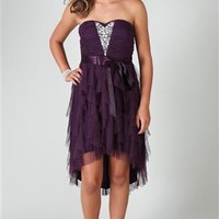 Strapless High Low Dress with Sequins and Tendril Skirt