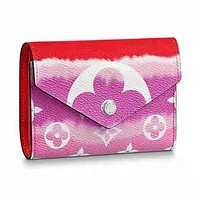 LV Wallet Louis Vuitton Wallet 6 card slots Square Type Wallet Red+Rose red