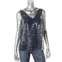 Parker Womens Sheer Sequined Blouse