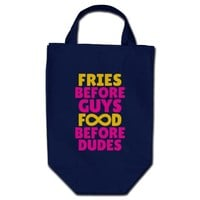 Fries Before Guys Food Before Dudes Infinity Grocery Tote Bags from Zazzle.com - Copyright © 2013 Diamondimages