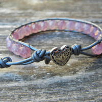 Beaded Leather Single Wrap Stackable Bracelet with Pink Luster Czech Glass Beads on Hematite Leather Friendship Bracelet