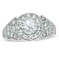 Lab-Created White Sapphire Vintage-Style Promise Ring in Sterling Silver - View All Rings - Zales