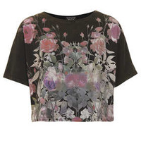 Floral Crop Tee - Jersey Tops  - Clothing