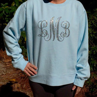 Glitter Monogram Comfort Colors Ladies Sweatshirt, Monogrammed, Pullover, Sweat Shirt, Monogrammed Christmas gifts