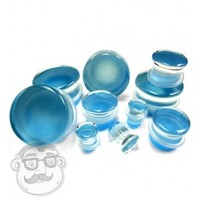 """Pacific Blue Glass Plugs In 0 Gauge - 1 Inch""""   UrbanBodyJewelry.com Ear Gauges & More!"""