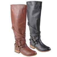 Journee Collection Women's 'Joy' Buckle Detail Round Toe Tall Boots   Overstock.com