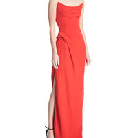 Oscar de la Renta Scooped Strapless Side-Slit Gown