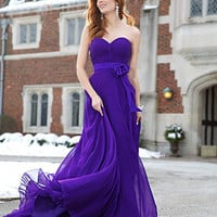 Strapless chiffon gown 77825 - Prom Dresses