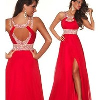 Ulass the bondage of female students dress bridesmaid dress formal wear long skirt (US12, red)