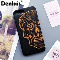 High Quality Retro Rubber+Wood Skull Case For iPhone X 8 7 Case Vintage Phone Case Shockproof Back Cover For iPhone 7 7Plus Capa