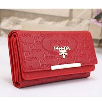 Prada Women Leather Buckle Wallet Purse Red I-MYJSY-BB Tagre™