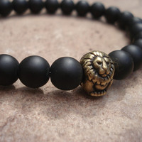 Matte Black Onyx Bracelet with Antique Brass Lion, for Him