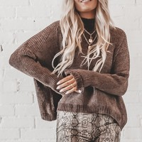 Cheer Up Buttercup Brown Chenille Sweater