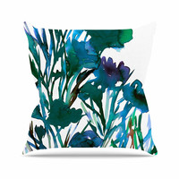 "Ebi Emporium ""Petal For Your Thoughts Teal"" Turquoise Green Throw Pillow"