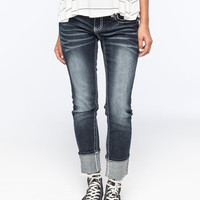 Almost Famous Premium Cropped Rolled Cuff Womens Skinny Jeans Dark Blast  In Sizes