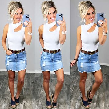 Back To You Distressed Denim Skirt - 3 Colors
