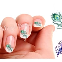 Nail Art Decals, Water Slide Nail Stickers, Peacock Feather