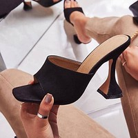 Woman Square Head Slippers Sandals Fashion Wine Glass High Heels Slipper Shoes