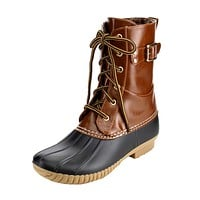 FF55 Women's Ankle High Lace Up Duck Rain Boots