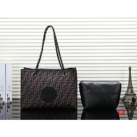 FENDI Women Fashion Leather Handbag Shoulder Bag Satchel Clutch Bag Set Two Piece