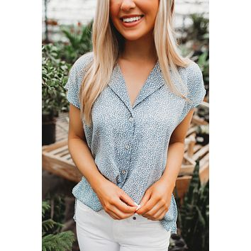 Certainly Chic Button Down (Misty Blue)