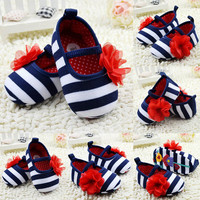 Infant Toddler Stripe Flower Crib Shoes Soft Sole Kid Girls Baby Shoes Prewalker NW