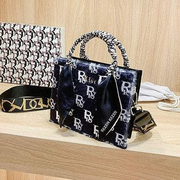 Dior Fashionable Small Square Bag With Soft Nap Wide Shoulder Strap Cross Slung Silk Scarf