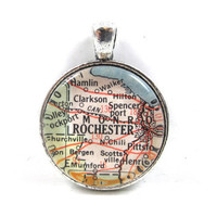 Vintage Map Pendant of Rochester, New York, in Glass Tile Circle