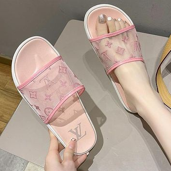 LV Louis Vuitton new slippers fashion outer wear student flat beach sandals slippers Shoes Pink